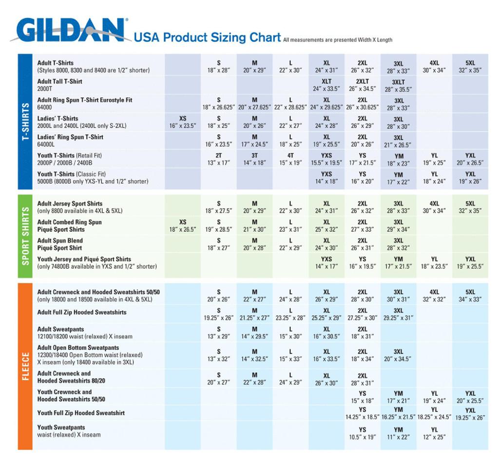 gildan heavy cotton size chart: Ourmojo pretty minutemen sp